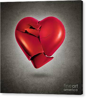 Shattered Heart Canvas Print by Carlos Caetano