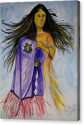 Shawl Dancer Canvas Print by Linda Waidelich