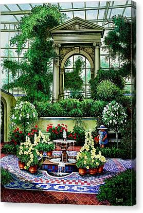 Canvas Print featuring the painting Shaw's Gardens Mediteranian House by Michael Frank