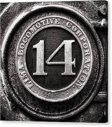 Shay 14 Lima Locomotive Number Plate Canvas Print by Ken Smith