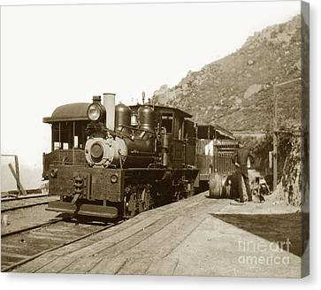Canvas Print featuring the photograph Shay No. 498 At The Summit Of Mt. Tamalpais Marin Co California Circa 1902 by California Views Mr Pat Hathaway Archives