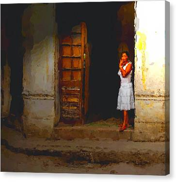 She Beckons Canvas Print by Dennis Lundell