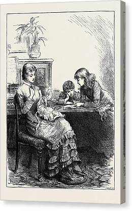 She Had Made Her Sisters Pinafores When They Were Younger Canvas Print by English School