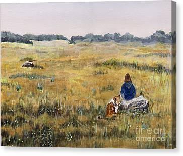 She Loves Her Sheltie Canvas Print by Barb Kirpluk