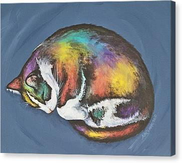She Purrs In Color Canvas Print by Beth Clark-McDonal