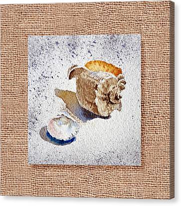 She Sells Sea Shells Decorative Collage Canvas Print by Irina Sztukowski