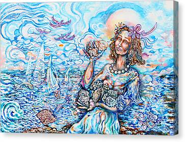 She Sells Seashells By The Seashore Canvas Print by Susan Schiffer
