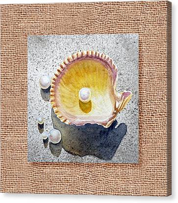 She Sells Seashells Decorative Collage Canvas Print by Irina Sztukowski