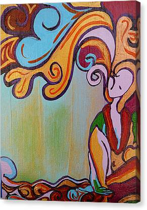 Canvas Print featuring the painting She Thinks by Gioia Albano