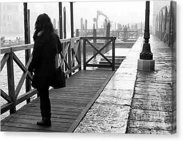 She Waits In Venice Canvas Print by John Rizzuto