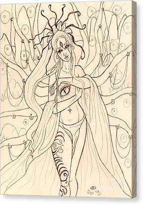 She Walked Through The Ruins Sketch Canvas Print by Coriander  Shea