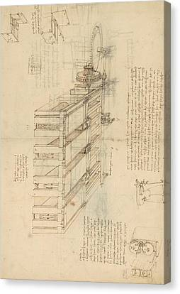 Exploration Canvas Print - Shearing Machine With Detailed Captions Explaining Its Working From Atlantic Codex by Leonardo Da Vinci