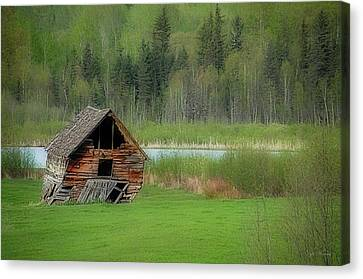 Shed By The Lake Canvas Print by Dyle   Warren