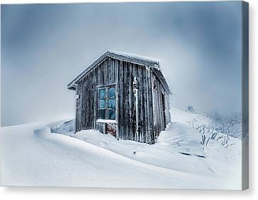 Shed In The Blizzard Canvas Print by Evgeni Dinev