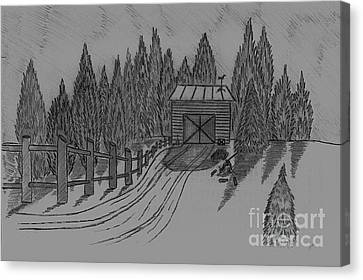 Shed In The Snow Canvas Print by Neil Stuart Coffey