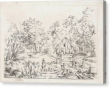 Shed Near The Water, Print Maker Anonymous Canvas Print