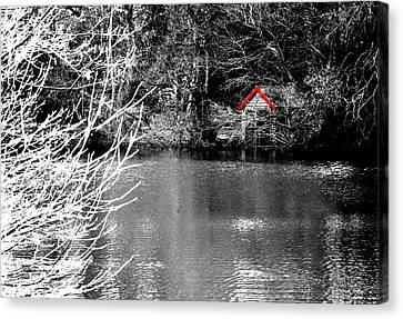 Shed On The Lake Canvas Print