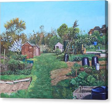 Sheds On Allotments At Southampton Canvas Print by Martin Davey