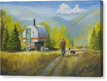 Wagon Canvas Print - Sheep Camp by Jerry McElroy