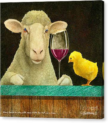 Chick Canvas Print - Sheep Faced On Wine With Some Chick He Met In A Bar... by Will Bullas