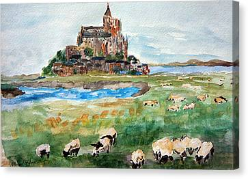 Sheep Grazing At Mont Saint Michel Canvas Print by Michael Helfen