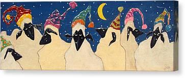 Sheep In Hats Canvas Print by John Blake