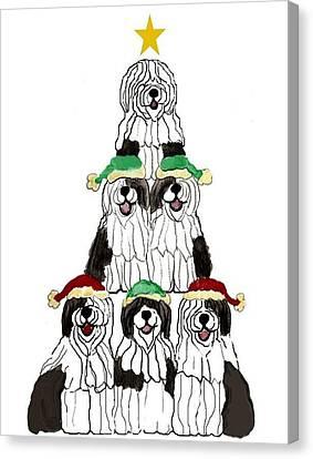 Sheepdog Christmas Tree Canvas Print