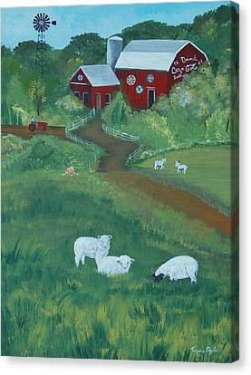 Sheeps In The Meadow Canvas Print