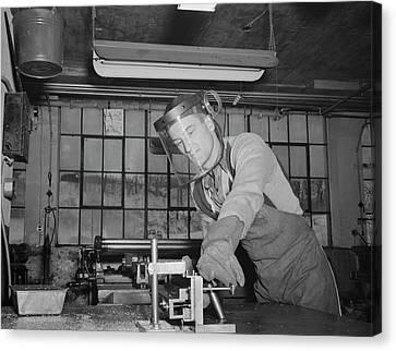 Sheet Metal Foreman Making Vital Parts Canvas Print by Stocktrek Images