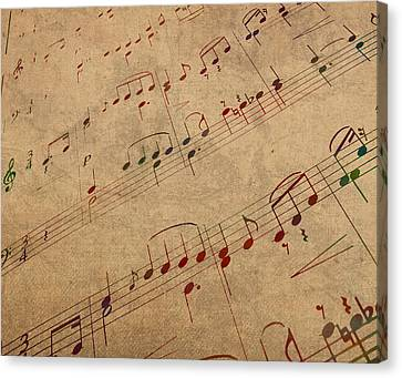 Sheet Music Watercolor Portrait On Worn Distressed Canvas Canvas Print by Design Turnpike