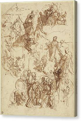 Sheet Of Studies For The Martyrdom Of Saint George Recto Canvas Print