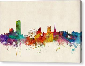 United Kingdom Canvas Print - Sheffield England Skyline by Michael Tompsett