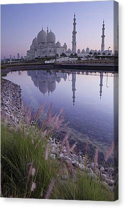 The Grand Place Canvas Print - Sheikh Zayed Grand Mosque At Sunrise by Kav Dadfar
