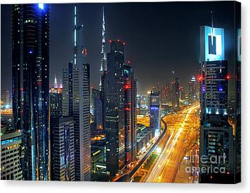 Sheikh Zayed Road In Dubai Canvas Print by Lars Ruecker