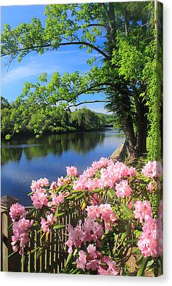 Shelburne Falls Deerfield River And Bridge Of Flowers Canvas Print by John Burk