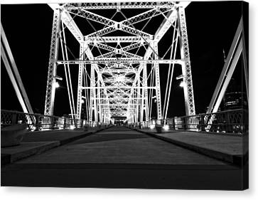 Shelby Street Bridge At Night In Nashville Canvas Print by Dan Sproul