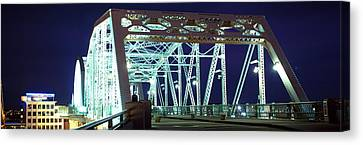 Shelby Street Bridge At Night Canvas Print by Panoramic Images