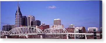 Downtown Nashville Canvas Print - Shelby Street Bridge With Downtown by Panoramic Images