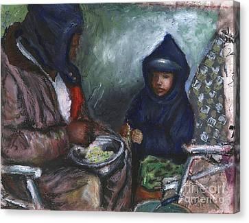 Shellin Peas With Grandpa Canvas Print