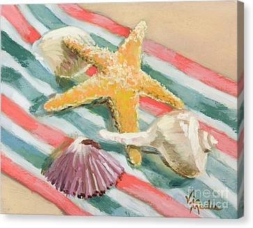 Canvas Print featuring the painting Shells Abound by Vic  Mastis