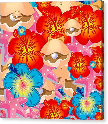 Shells And Hibiscus Canvas Print by Gaspar Avila