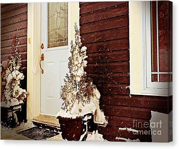 Shelter From The Storm - Blizzard - Snow Storm Canvas Print by Barbara Griffin