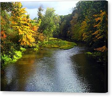 Shenago River @ Iron Bridge Canvas Print by Joyce  Wasser