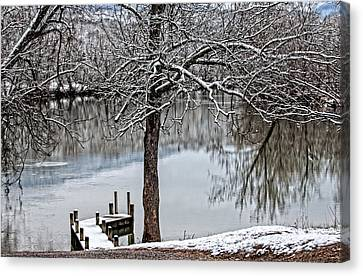 Shenandoah Winter Serenity Canvas Print by Lara Ellis