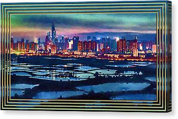 Shenzen Across The Rice Paddy Fields Canvas Print by Mario Carini