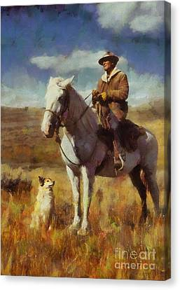 Shepherd And His Dog Canvas Print by Kai Saarto