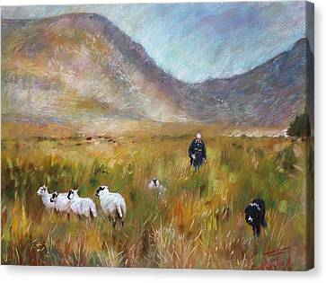 Canvas Print featuring the drawing Shepherd And Sheep In The Valley  by Viola El