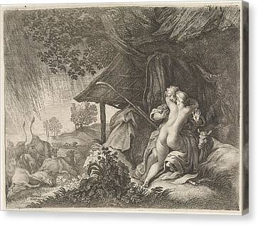 Shepherd And Shepherdess Shelter From A Storm Canvas Print by Quint Lox