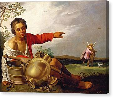 Shepherd Boy Pointing At Tobias And The Angel Canvas Print