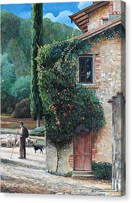 Italian Landscape Canvas Print - Shepherd, Peralta, Tuscany, 2001 Oil On Canvas by Trevor Neal